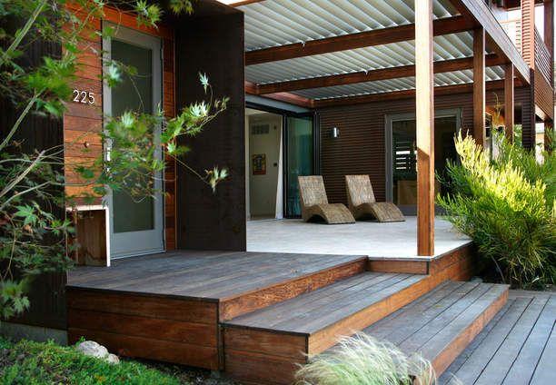 Ipe deck – front porch – modern prefab home – corrugated metal