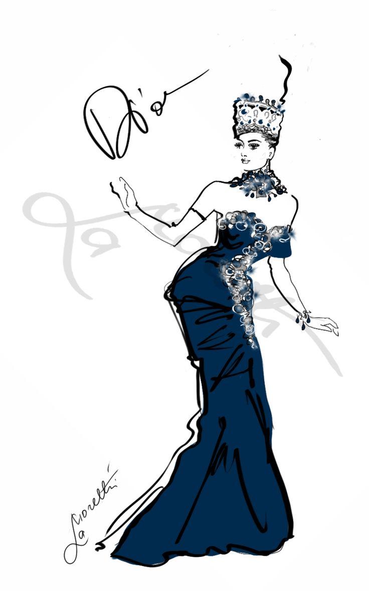 """""""More to Evening - Dior 2012"""".  Illustration by Nadia La Moretti."""