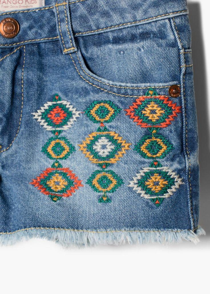 Jeans-shorts im ethno-stil | MANGO KIDS