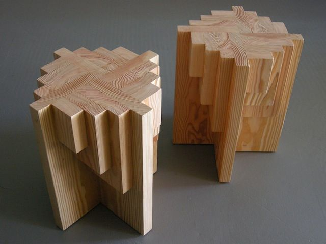 Two Parquet Table Stools