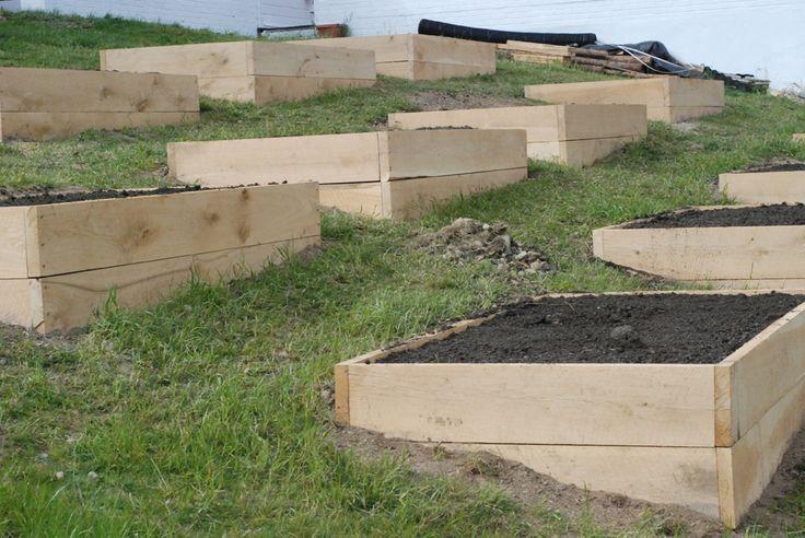 vegetable gardens on a hill | raised beds on a hill | Garden Girls | Pinterest