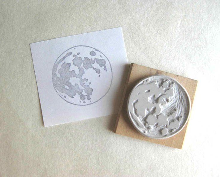 Moon - Hand Carved Rubber Stamp Idea