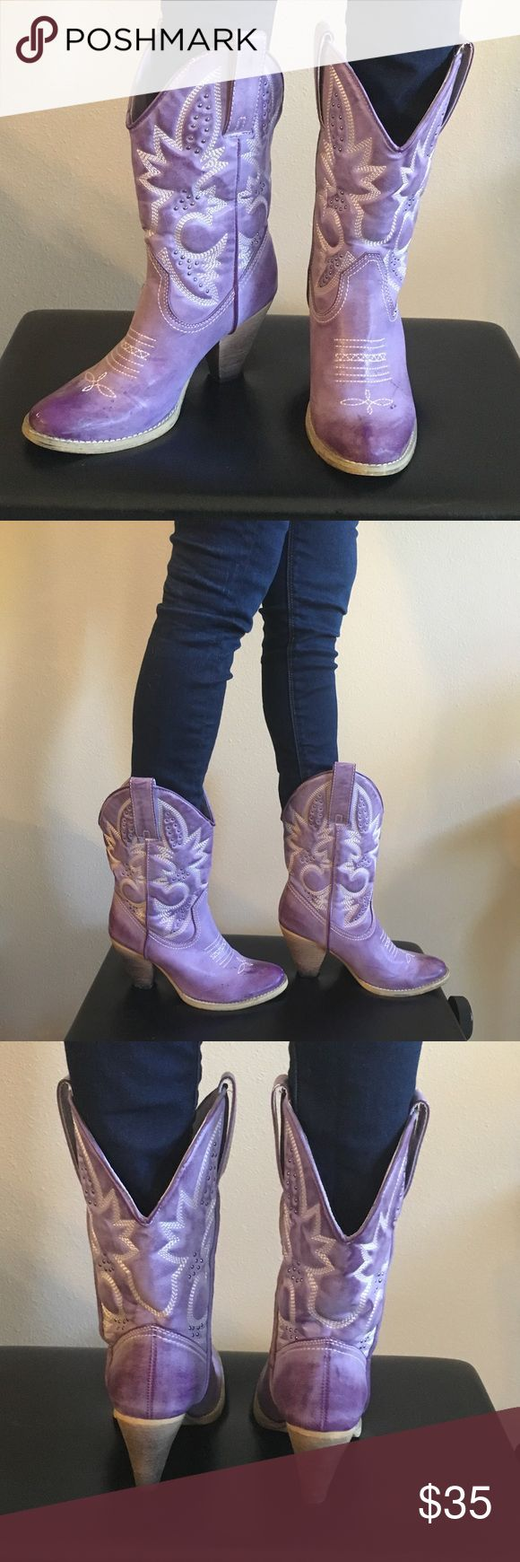 Purple ombré cowboy boots Purple ombré cowboy boot with ivory stitching and small silver stud. Worn 3-4 times. Shoes Heeled Boots
