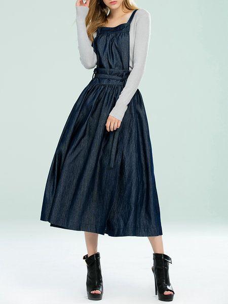 Shop Midi Skirts - Dark Blue Statement Solid Denim Skater Wrap Skirt online. Discover unique designers fashion at StyleWe.com.