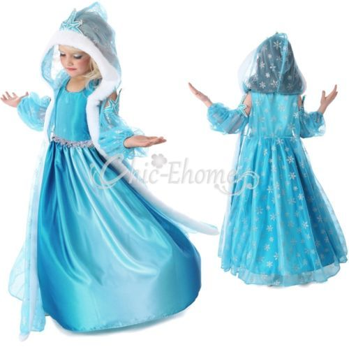 Enfant-Fille-Robe-Costume-La-Reine-des-Neiges-Frozen-Elsa-Anna-Deguisement-Cape