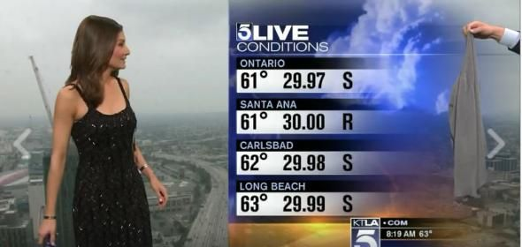 The Saturday morning weather forecast was delivered with a big side of misogyny on KTLA as reporter Liberté Chan was essentially forced to put on a swe ...