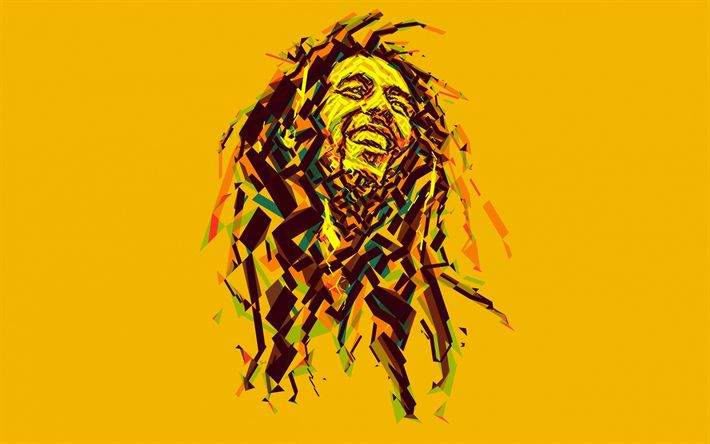 Download wallpapers Bob Marley, art, Jamaican musician, portrait, low poly