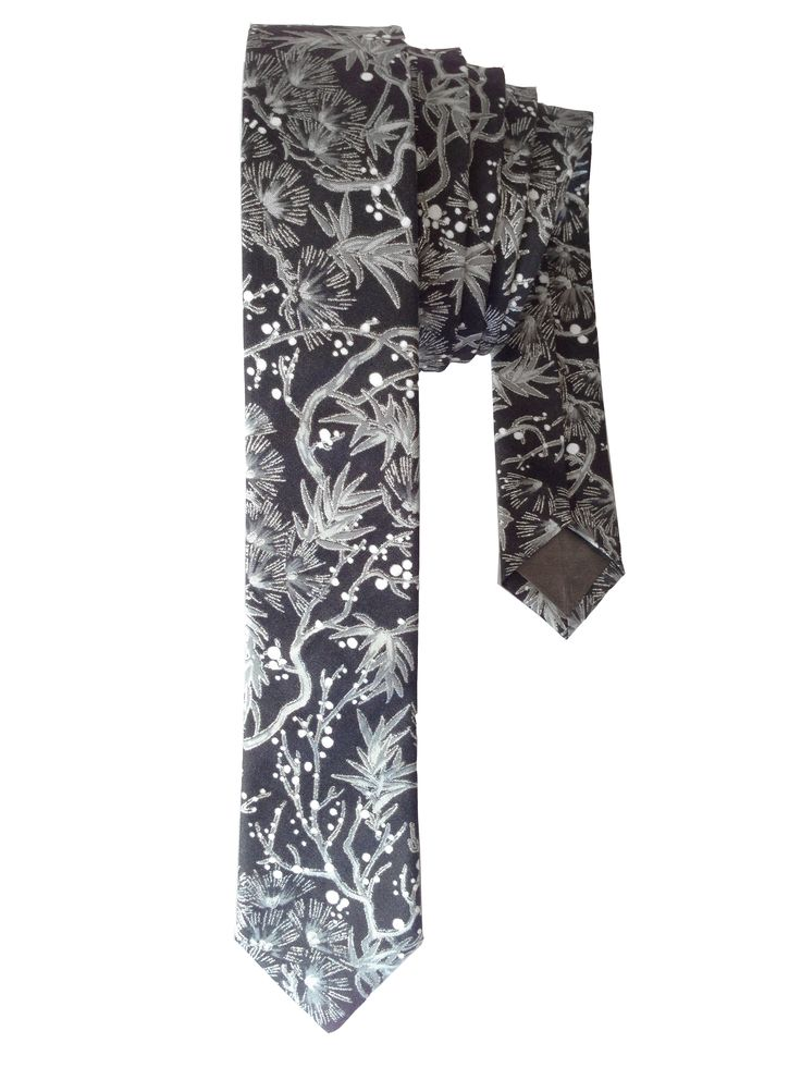 Silver lined Black and Grey Skinny Tie