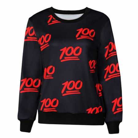 100 emoji sweatshirt casual sports black pullover sweatshirts