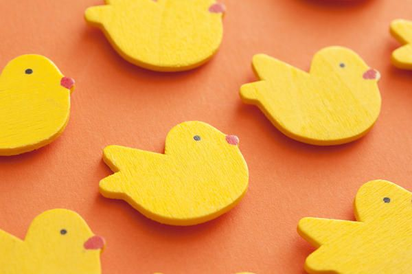Love this image: Bright yellow Easter chicks arranged in diagonal rows on an orange background in an oblique angle full frame view - By stockarch.com user: easterstockphotos