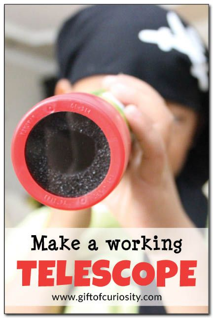 Make a working telescope! Kids can learn to combine lenses of different shapes to make an inexpensive but fully functioning DIY telescope. This is a great science activity for kids. #handsonscience || Gift of Curiosity