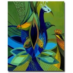 @Overstock - Stunning blues and greens in this jewel-toned gallery-wrapped canvas art by Armando is titled Exotic Nature. Colorful birds on a green field add a pop of color and excitement to your room. The canvas is UV coated and water resistant for durability.http://www.overstock.com/Home-Garden/Armando-Exotic-Nature-Canvas-Art/6425479/product.html?CID=214117 $74.99