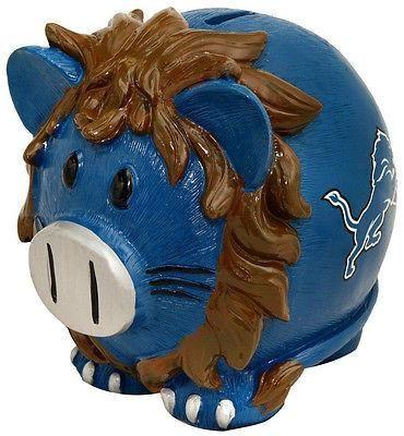 NFL Detroit Lions Large Resin Piggy Bank  www.mancavesonline.com