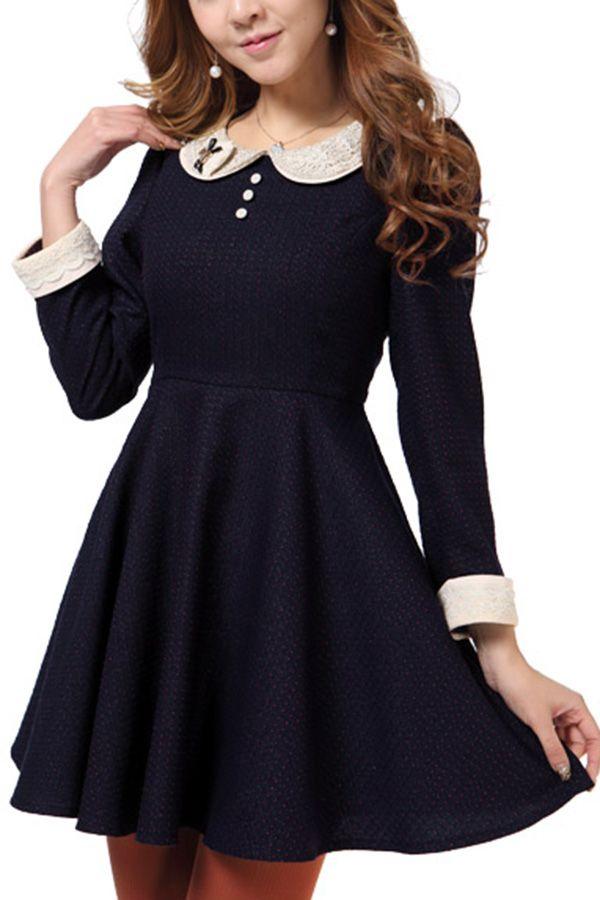 Korean Style Peter Pan Collar Long Sleeve Dress OASAP.com