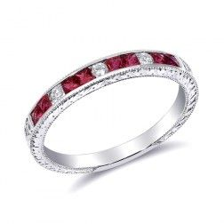 A beautiful Natural Ruby ring set with  0.41 carats in 18K White Gold     A great choice for a stackable Ring with Diamonds