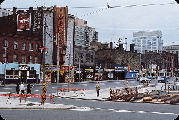Queen and Bay Street, circa 1961-1965, before they built Nathan Philips Square.