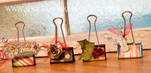 Binder Clips All Dressed Up!!  Great for holding pictures, name holders for holidays, recipe card holders, etc.