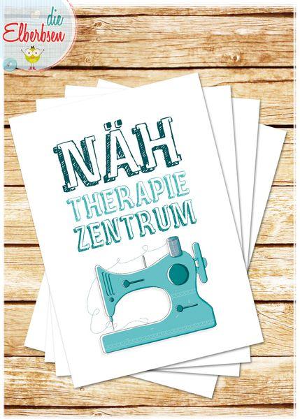 Postkarte NÄH-THERAPIE-ZENTRUM von die elberbsen auf DaWanda.com
