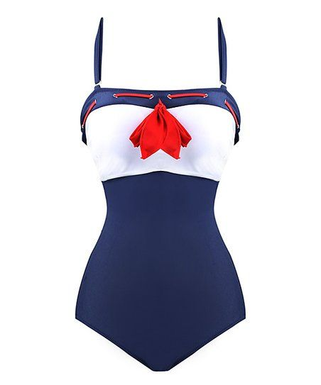 This nautical-inspired swimsuit boasts a vintage silhouette with high-cut thighs and a halter neckline. The stretch-blend design ensures a just-right fit. Size note: Daisy Corsets recommends ordering based on waist measurements. Please refer to each size chart.