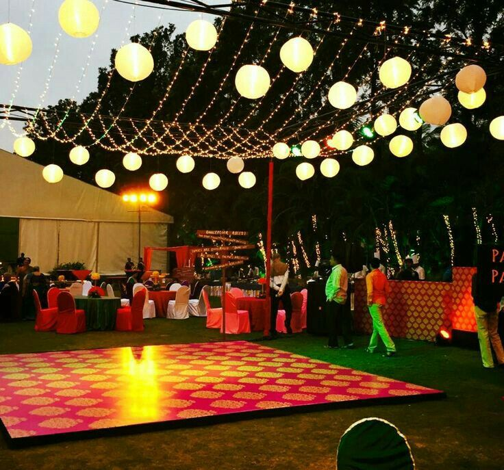 Dance Floor With Chinese Lanterns And Fairy Lights