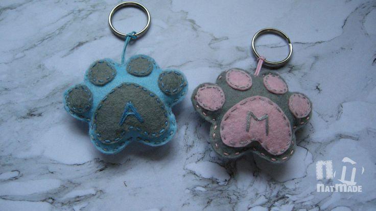 Personalized paw print keychain,felt paw print keyrings, personalized keychain…