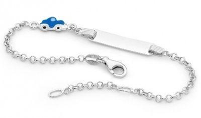 Piccolo Baby ID Bracelet - LITTLE BLUE CAR - Sterling Silver