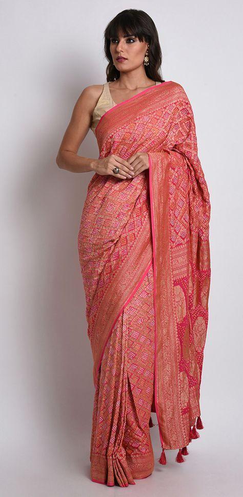 Red Shot Pink Ombre Banarasi Zari Bandhej Pure Georgette Saree