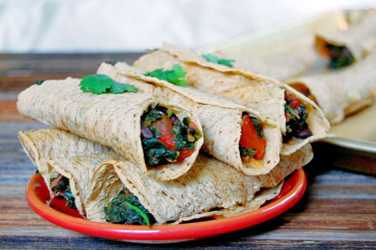 Black Bean & Spinach Baked Taquitos ‹ Hello Healthy