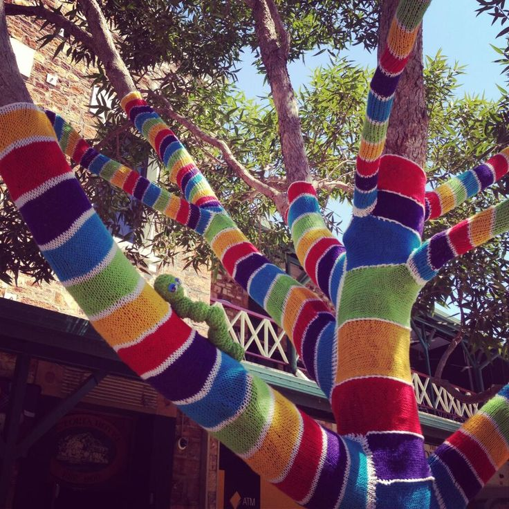 Smith St Mall yarnbombed by local yarnbomber 'Peggy'. Artwork named 'Idle Hands Tree Cosy' @cityofdarwin