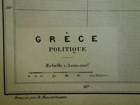 GREECE old map of Greece 1896 original antique hand-colored