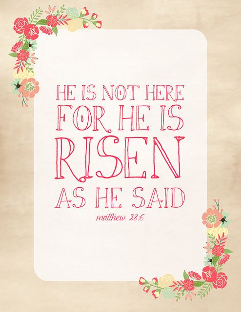 """This year's """"He is risen!"""" printable from La Buena Vida"""