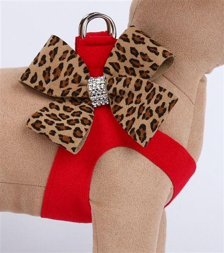 Arnés rojo con lazo de guepardo    -   Red with Cheetah Nouveau Bow Step in…