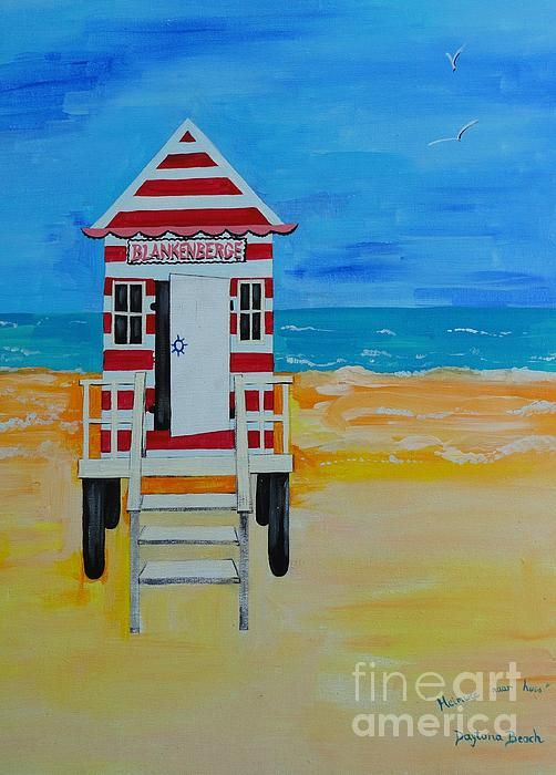 "Description:These little ""DRESSING ROOMS"" were situated on the beach back in the country of my birth, Belgium. As a young girl, I used to rent these out to the tourists, as a job during my Summer breaks from school. Very sweet memories The original painting is signed by me. Painted by PainterArtistFIN when I lived in Daytona Beach, FL. where I was often reminded of ""Blankenberge Belgium""."