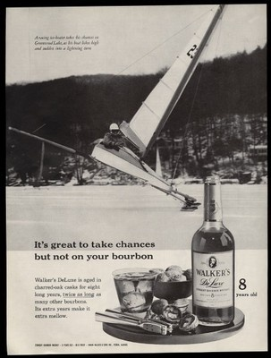 1961 Greenwood Lake NY Ice Boat Racing Photo Walker's Deluxe Bourbon Whiskey Ad: Photo Walker, Racing Photo