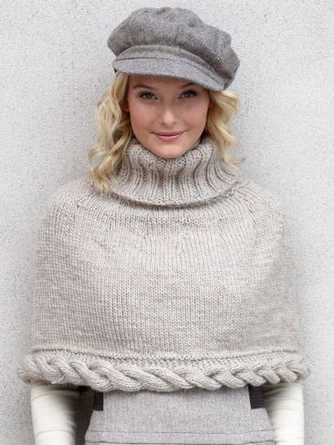 Free Pattern - Simple capelet with a bold cable detail. #knit #cables #capelet #cape