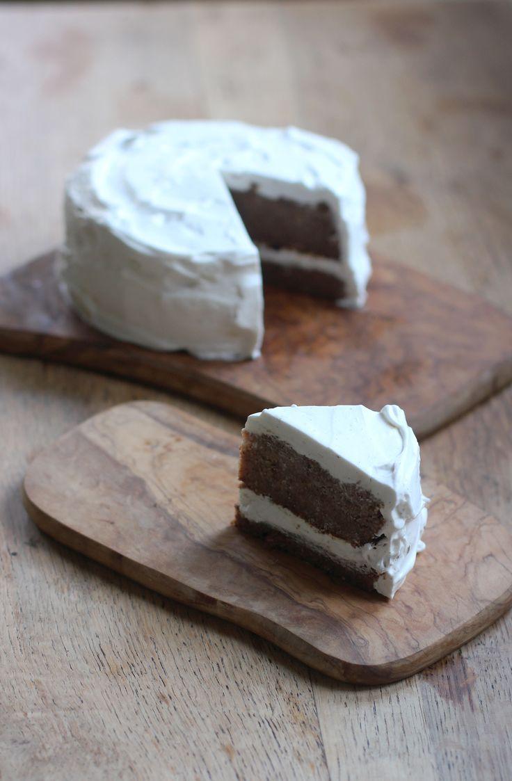 Banana Coconut Cake Lavished With Coconut Cream Gluten Free Vegan Sweetened With Dates Bananas And Stevia Sub Flour For Paleo