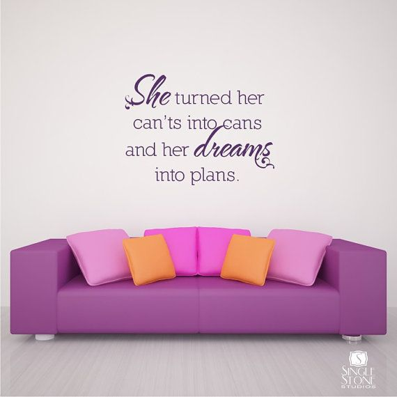 Wall Decal Quote Can'ts Into Cans - Vinyl Text Wall Words Stickers Art Graphics. $24.00, via Etsy.