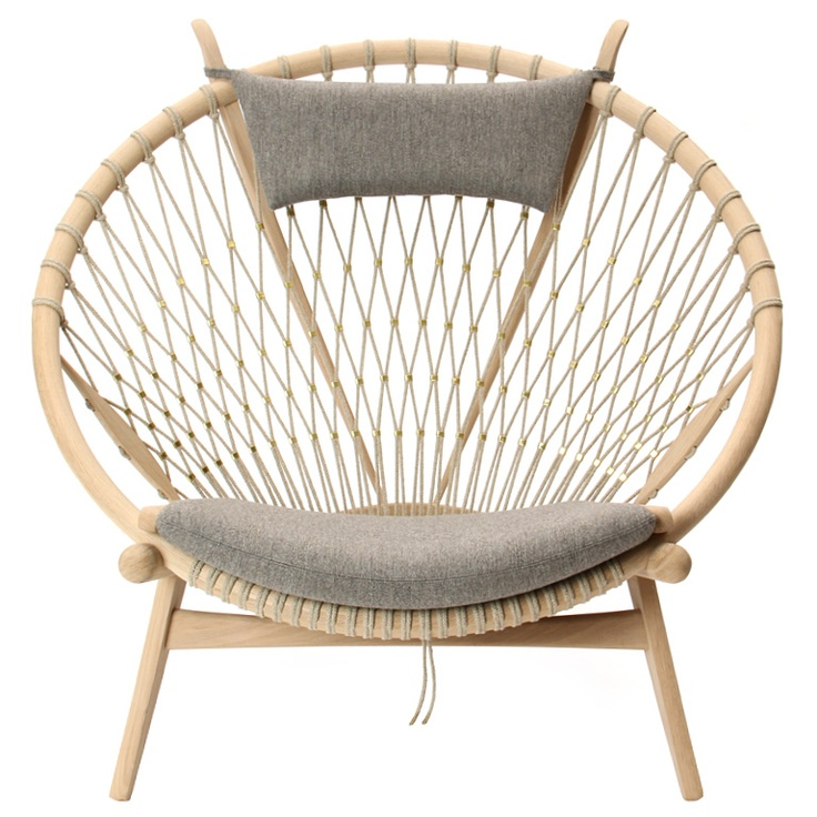The Circle Chair By Hans J. Wegner, Denmark, 1965 The Classic Circle Chair  With A Frame In Solid Oak And Woven Flag Line With Brass Clips And Grey  Savak ...