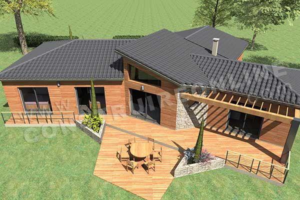 plan de maison plain pied moderne ENJOY piscine ciel