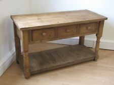 Pine Rustic Butchers Block Kitchen Island Free Standing Table Drawers