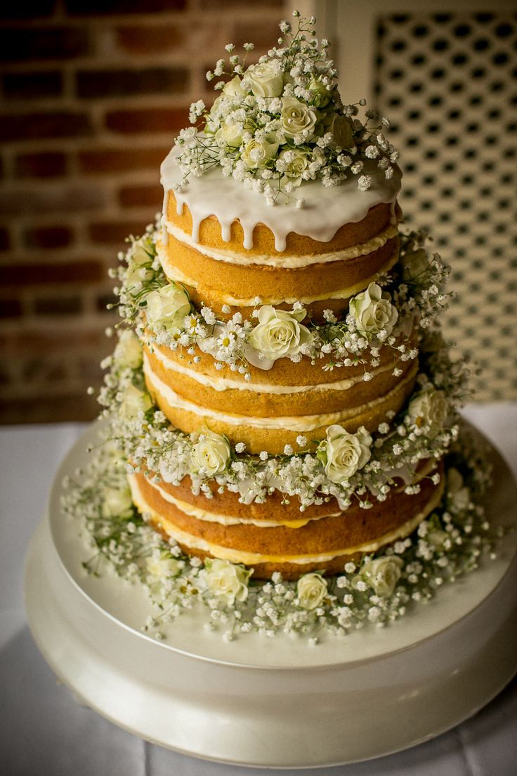 Nude wedding cake @BruisyardHall by Kitty's cake. Lemon drizzle! Just yum! #welovecake