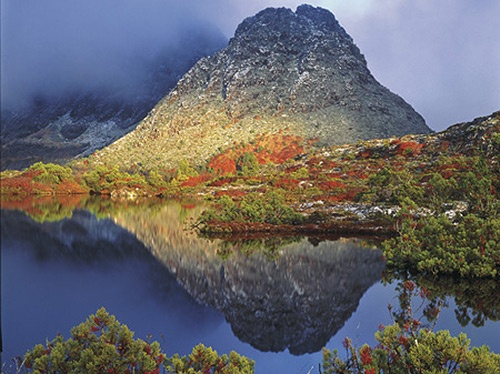 Morning light on Little Horn, Cradle Mountain. photo by Peter Dombrovskis. Copyright:Liz Dombrovskis
