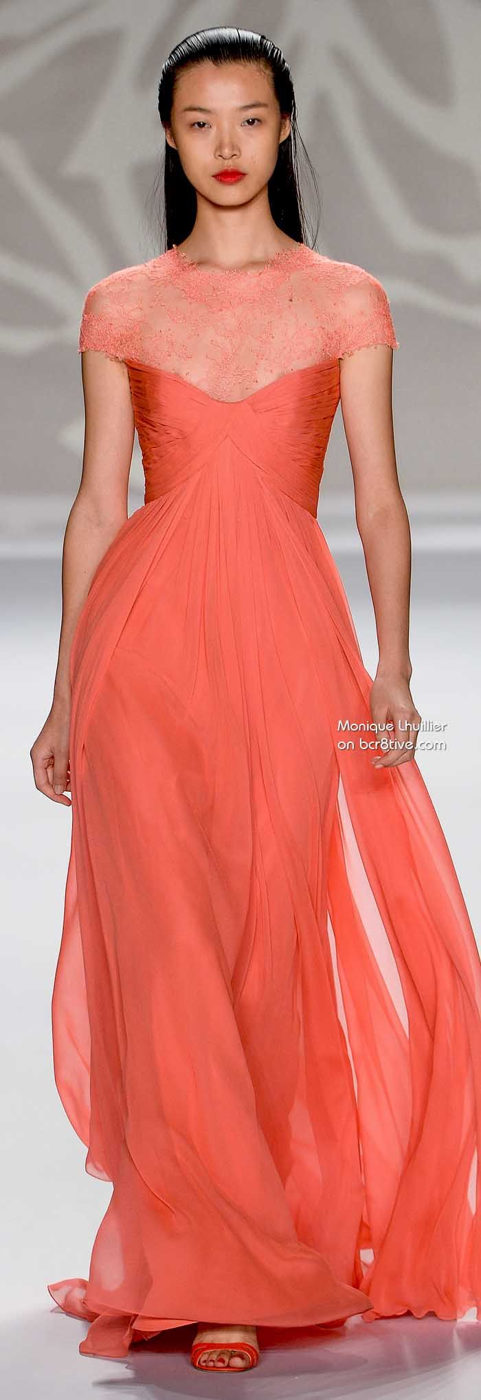 This is a gorgeous floor length coral Monique Lhuillier dress form her Spring 2014 collection - great for an outdoor or Summer wedding that is formal.