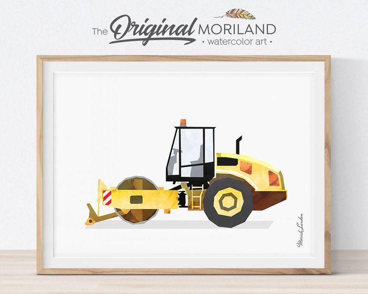 Steam Roller Print, Road Roller Wall Art, Construction Nursery Print, Truck Printable, Children's Room Print, Transportation Decor by MORILAND on Etsy