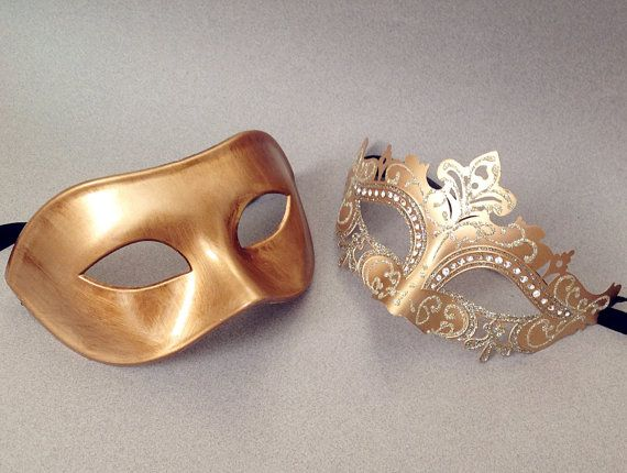 This Gold masquerade mask pair is beautifully made from resin and finished with paper plaster on the back for comfortable wearing, you are getting 2