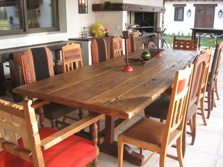Mesa de comedor en lapacho macizo reciclado mesa comedor - Mesas comedor rusticas ...