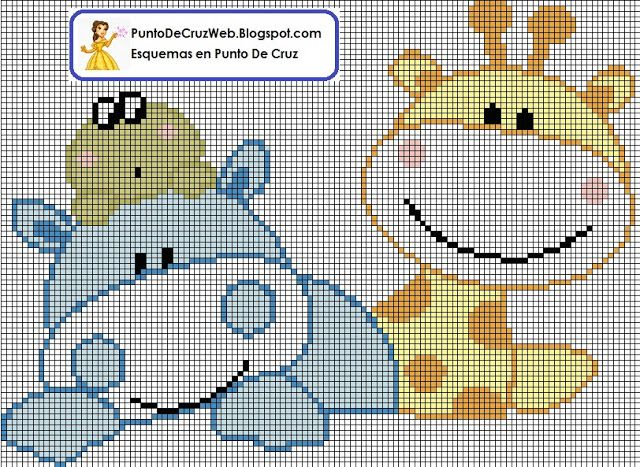 hippo frog giraffe cross stitch