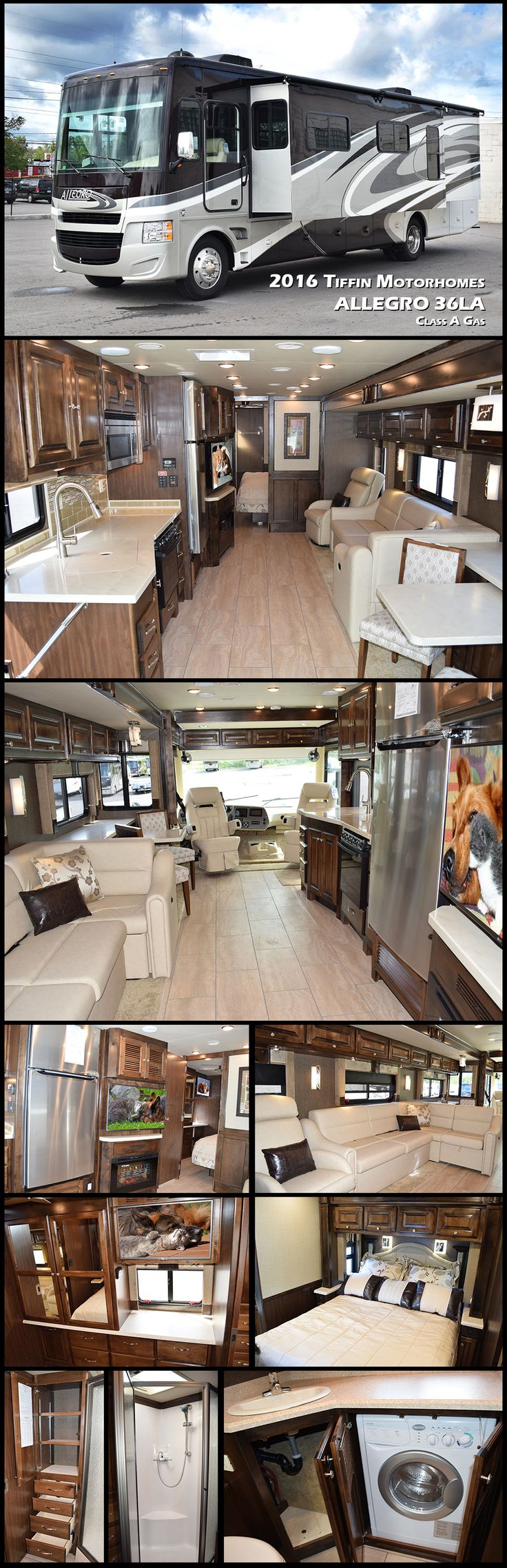 2016 ALLEGRO 36LA Class A Gas by Tiffin Motorhomes. The Allegro is a favorite of first-time RV owners, earning raves for its comfort, design, reliability, and affordability!                                                                                                                                                     More