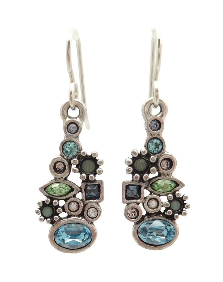 "Patricia Locke Zephyr Blue & Green Lara Swarovski Crystal Silver Plated Hook Earrings. Beautiful mix of Swarovski Crystals in Aqua, Dark Aqua, Dark Blue, Light Blue, Green, Light Green and Clear - Zephyr Collection. Approximately 3/8"" wide by 1 3/8"" long including Hooks. Silver Plating over Pewter. Nickel Free. Handmade in the USA. Comes in Gift Box with Organza Bag and Story Card."