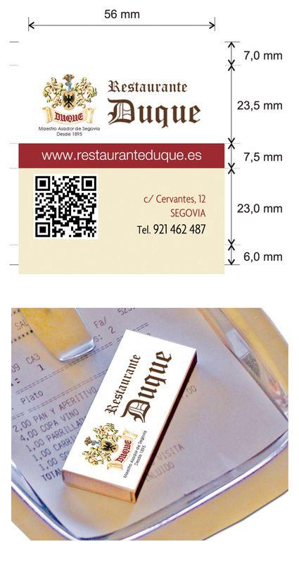 """Propuesta diseño cajas de cerillas modelo """"Hotel"""" para Restaurante Duque en Segovia."""